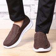 Большой размер мужской чистый цвет ткани дышащий скольжения на Soft повседневная обувь