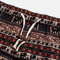 Mens style ethnique impression lâche mode cordon taille élastique casual shorts droites