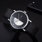 Designer Unisex Leather Minimalist Watches Perspective Dial Semicircle Quartz Watches for Men