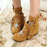 Large Size Tassel Embroidery Boots