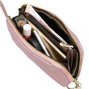 Women Bifold Genuine Leather Long Phone Purse Solid Leisure Coin Purse 3 Card Slot Clutch Bags