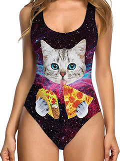 Sexy Cat Fruits Floral Printing Backless Monokini Swimsuits For Women