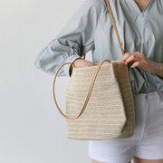 Женская соломенная цельная сумка для летнего пляжа Сумка для путешествий на плечо