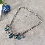 Trendy Women's Colorful Platinum Plated Water Drop Charm Bib Necklace