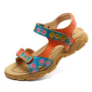 SOCOFY Soft Splicing Genuine Leather Colorful Pattern Adjustable Hook Loop Casual Sandals