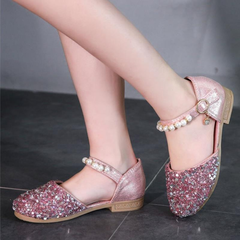 Girls Sequined Pearls Decor Hook Loop Shining Princess Flat Shoes