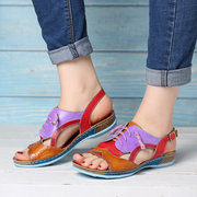 SOCOFY Soft Splicing Colorful Genuine Leather Stitching Comfortable Lace Up Buckle Strap Sandals