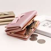 Women Bow Tie PU Leather Bifold Wallet  Purse Coin Bag
