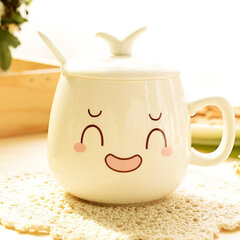 Ceramic Cup with Cover Personality Cute Expression Cup with Spoon Lovely Gift