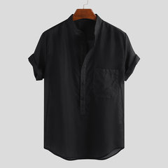 Mens Plain Chest Pocket Breatable Stand Collar Short Sleeve Casual Loose Henley Shirts