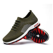 Men Knitted Fabric Comfy Breathable Lace Up Sport Casual Sneakers