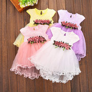 Cute Baby Girls Summer Floral Dress Princess Party Tulle Flower Dresses For 6-36M