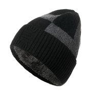 Mens Wool Plus Velluto Knit Hat Vintage Vogue caldo inverno Outdoor sci da viaggio Beanie