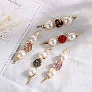 Elegant Pearl Word Folder Hair Clip Rhinestone Alloy Hair Clip For Women