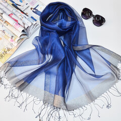 Women Pretty Thin Soft Silky Silk Scarf Beach Casual Sunscreen Breathable Shawl
