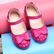 Bowknot Flower Decoration Hook Loop Flat Cute Shoes For Girls