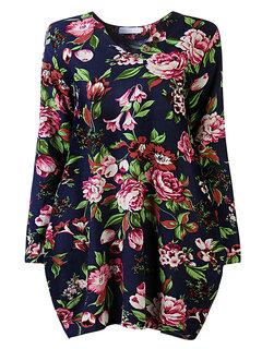 Vintage Floral Printed V Neck Asymmetry Hem Long Sleeve Loose Women Dress