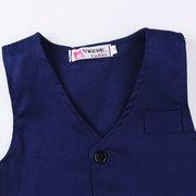 Conjuntos formales para niños de 4 piezas Camisa + corbata + chaleco + largo Pantalones para 1Y-9Y