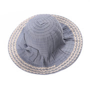 Womens Simple Solid Canvas Bucket Cap Bow Decoration Wild Outdoor Travel Fisherman's Hat