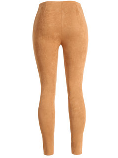Button Design Suede Slim Pencil Trousers