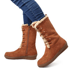 LOSTISY Stitching Mid Calf Comfortable Lace Up Zipper Winter Knight Boots