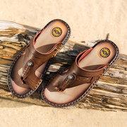 Pantoufles en cuir microfibre pour hommes Pantoufles antidérapantes Sandales de plage