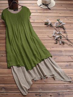 Vintage Pleated Patchwork Irregular Hem Plus Size Dress with Pockets