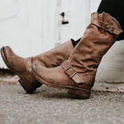 Round Toe Buckle Strap Motorcycle Boots
