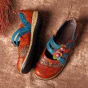 SOCOFY Vintage Floral Leather Splicing chaussures colorées Bande crochet de boucle de couture