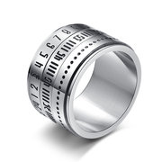 Simple Titanium Steel 316L Stainless Steel Time Loop Numeral Finger Ring Unisex Jewelry