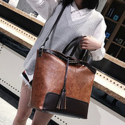 Women Large Capacity Vintage Tassel Tote Handbag Casual Crossbody Bag