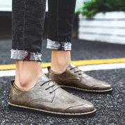 Men British Style Comfy Sole Lace Up Casual Leather Shoes