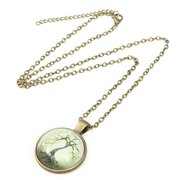 Vintage Tree of Life Round Glass Time Gem Cabochon Charm Necklaces for Women