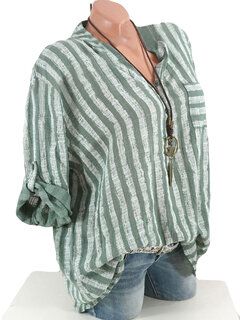Stripes V Neck Long Sleeve Shirts for Women