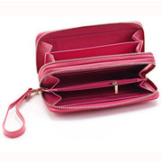 Women Lingge Genuine Leather Clutches Bag Card Holder Wallet Purse