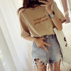 Season Season New Round Collo T-Shirt a maniche corte Studentessa Camicia Ricamo Largo Bottoming Camicia