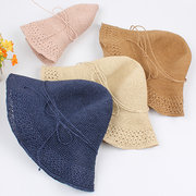 Women Summer Breathable Straw Hat Sunscreen Foldable Solid Bucket Hat