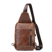 Ekphero Genuine Leather Chest Bags Vintage Front Pockets Crossbody Bags