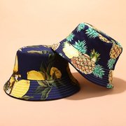 Mujer & Men Fruit Print And Black Balket de doble cara Sombrero