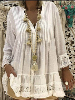 Embroidery Lace V-neck Long Sleeve Plus Size Blouse