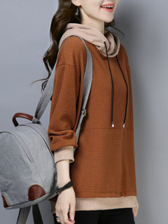 Casual Patchwork Knit Long Sleeve Hoodie for Women