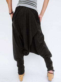 عارضة الصليب التفاف زر الصلبة اللون المرأة سروال الحريم