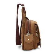 KAUKKO Mens Retro Multifunctional Pockets Leisure Canvas Bag Crossbody Bags
