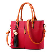 Women Solid Faux Leather Large Capacity Handbags Tassel Casual Crossbody Bags