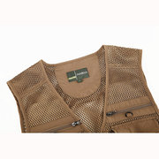Outdoor Sport Photographic Mesh Breathable Water Resistant Fishing Multi Pockets Vest for Men