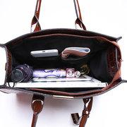 Women Crocodile Pattern Tote Handbag Large Capacity Solid Crossbody Bag