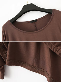 Casual Long Sleeve Asymmetrical Solid Color Pullover Shirt