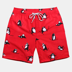 Mens Penguin Red Board Shorts Plus Size Thin Quick Dry Beach Shorts With Multi Pockets