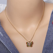 18K Gold Sweet Colorful Butterfly Necklaces Full Zirconia Classic Charm Necklaces Gift for Women