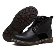 Men High Top Metal Eyelets Calssic Lace Up Oil Leather Work Boots